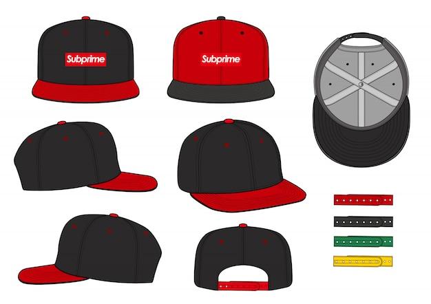 Snapback cap set mode platte technische tekening vector sjabloon