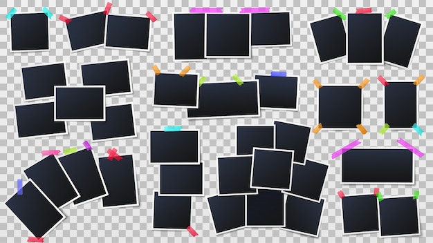 Snapshots kaders, instant fotomodel en partij fotowand sjabloon vectorillustratie