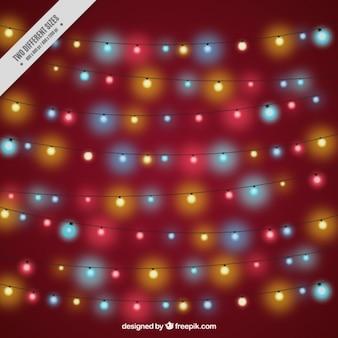 Snaren met kleurrijke kerstverlichting
