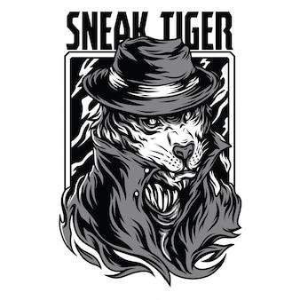 Sneak tiger black and white illustration