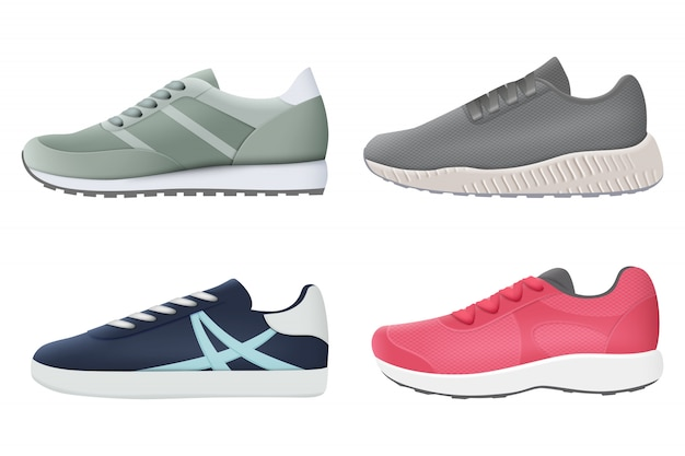 Sneakers. fitness gezonde kleurrijke sport styling schoenen schoenen realistische sneakers collectie