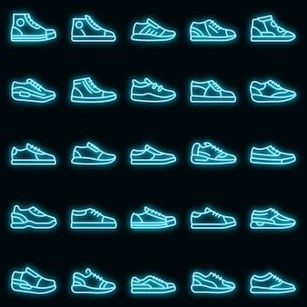 Sneakers pictogrammen instellen vector neon