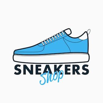 Sneakers winkel logo. athletic sport sign - ontwerp embleem voor winkel. vector illustratie.