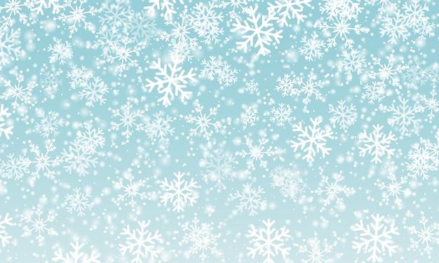 Sneeuw achtergrond. illustratie. winter sneeuwval. witte sneeuwvlokken op blauwe hemel. kerst achtergrond. vallende sneeuw.
