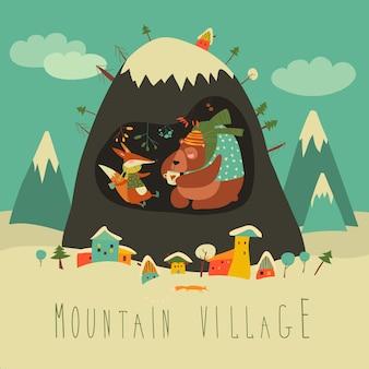 Sneeuw bedekt dorp door de berg