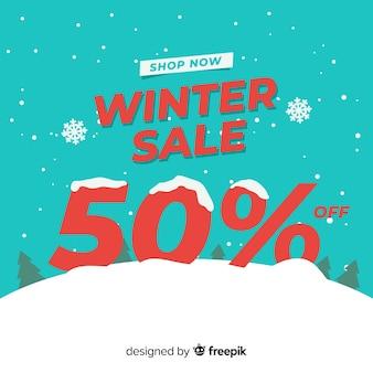 Sneeuw bedekte nummer winter verkoop achtergrond