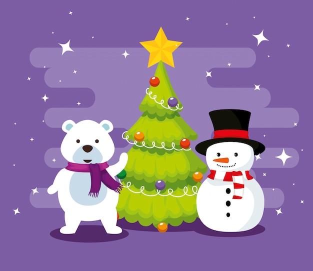 Sneeuw beer met dennenboom en sneeuwpop
