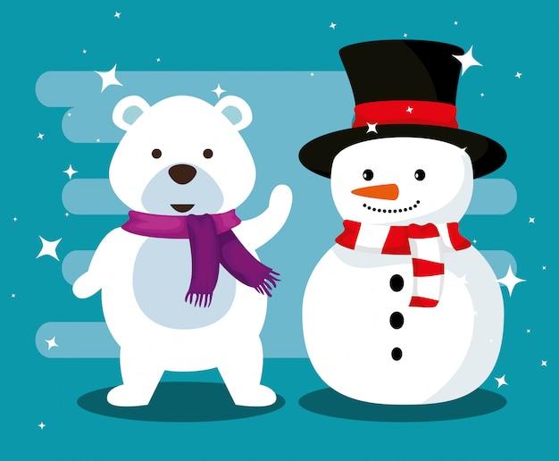 Sneeuw beer met sjaal en sneeuwpop met hoed
