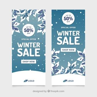 Sneeuw bomen winter verkoop sjabloon voor spandoek