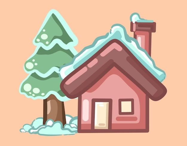 Sneeuw cabine in de winter cartoon vector pictogram illustratie gebouw vakantie pictogram concept geïsoleerd