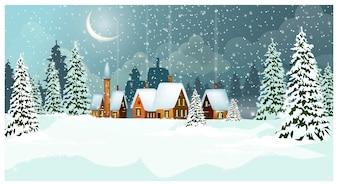 Sneeuw de winterlandschap met plattelandshuisjes en sparren