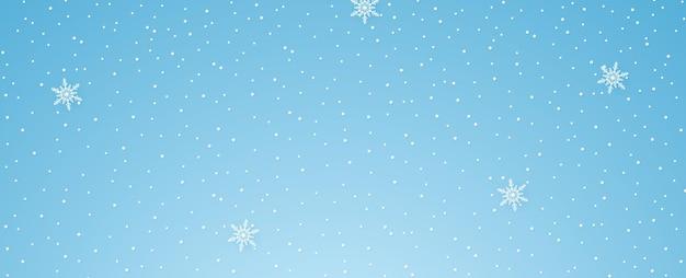 Sneeuw die valt met sneeuwvlok, winterseizoen, kopieerruimte, papierkunststijl