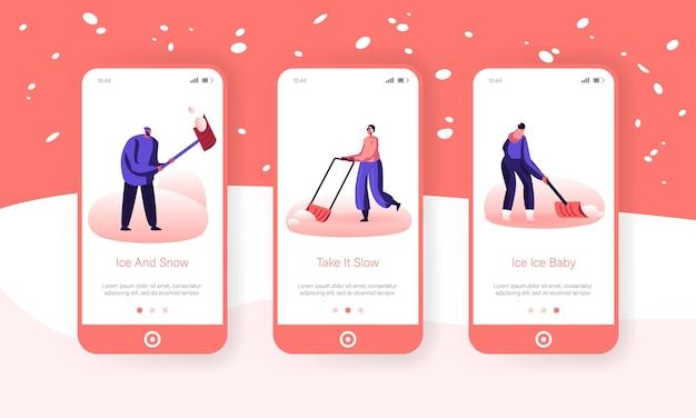 Sneeuw- en ijsverwijdering na blizzard mobile app page onboard screen set.
