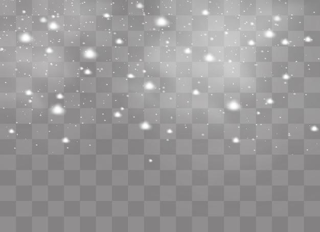 Sneeuw en wind op een transparante achtergrond