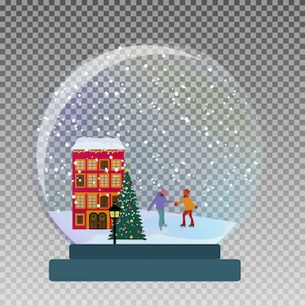 Sneeuw glazen bol met kinderen schaatsen in de winter voor kerstmis en nieuwjaar cadeau.