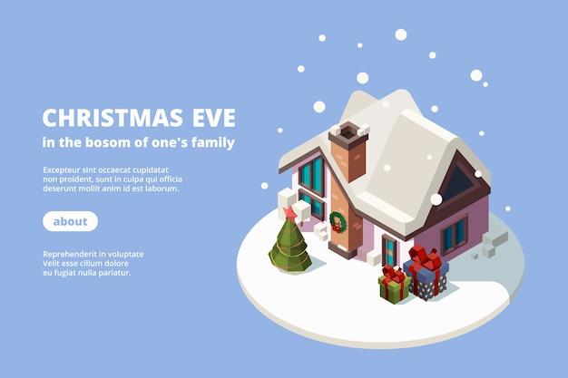 Sneeuw huis. xmas gebouw met vakantie geschenken groene decoratie boom 3d isometrische banner voor websjabloon
