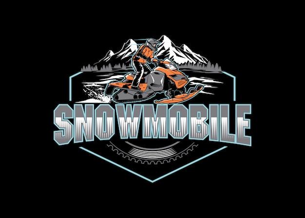 Sneeuw mobiel sportlogo