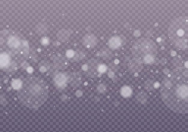 Sneeuw, schijnt bokeh geïsoleerd op transparante achtergrond.