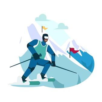 Sneeuw skiën vlakke afbeelding
