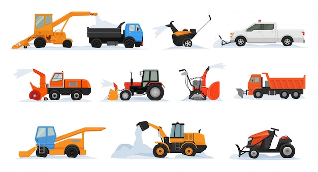 Sneeuw verwijdering vector winter voertuig graafmachine bulldozer schoonmaken verwijderen sneeuw besneeuwde set van sneeuwploeg apparatuur trekker vrachtwagen sneeuwblazer vervoer