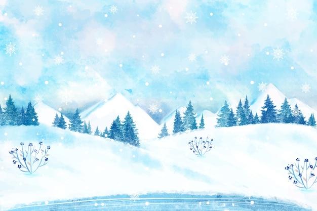 Sneeuw winterlandschap behang