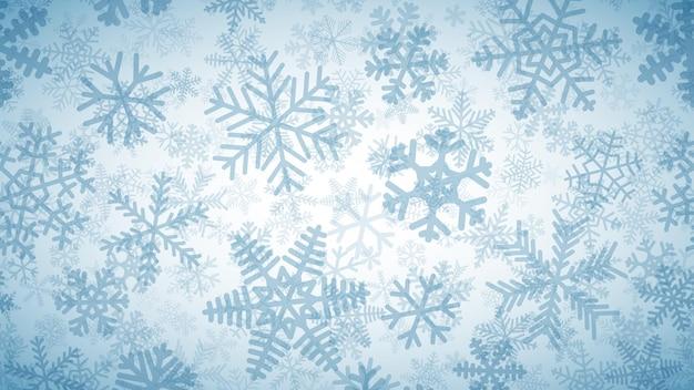 Sneeuwachtergrond van vele lagen sneeuwvlokken van verschillende vormen.