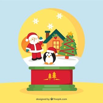 Sneeuwbal achtergrond met de kerstman en pinguïn