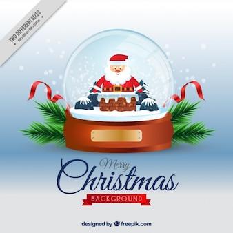 Sneeuwbal achtergrond met de kerstman