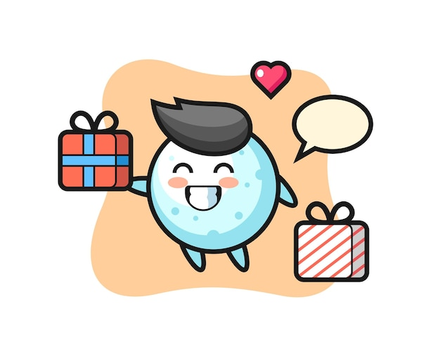Sneeuwbal mascotte cartoon die het geschenk geeft, schattig stijlontwerp voor t-shirt, sticker, logo-element