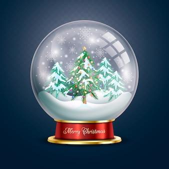 Sneeuwbalbol met kerstboom