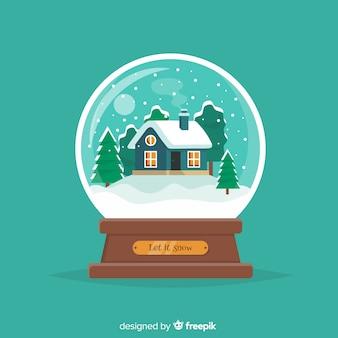 Sneeuwbalbol met kerstmisconcept in vlakke stijl