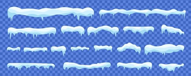 Sneeuwballen en sneeuwafwijkingen winterdecoratie besneeuwde elementen.