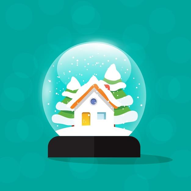 Sneeuwbol huis illustratie