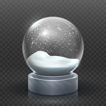 Sneeuwbol. kerstvakantie snowglobe, lege glazen xmas sneeuwbal. sneeuw magische bal vector sjabloon