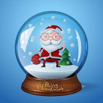 Sneeuwbol met de kerstman en kerstboom op blauwe achtergrond.