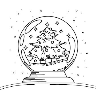 Sneeuwbol met kerstboom en geschenkdozen kerstmis en nieuwjaar kleurboek vector
