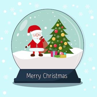 Sneeuwbol met kerstboomcadeaus en de kerstman