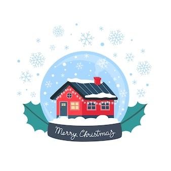 Sneeuwbol, schattig winterhuisje met feestelijke slingers