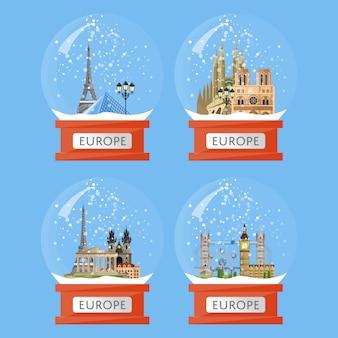 Sneeuwbollen met beroemde attracties
