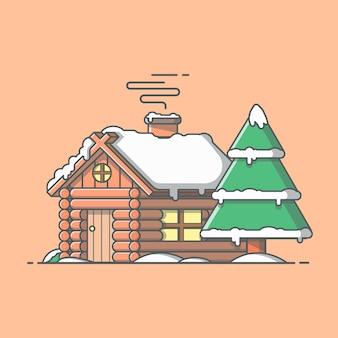 Sneeuwcabine in de winter. huis pictogram. sneeuw bedekte hut in het bos. houten huis geïsoleerd