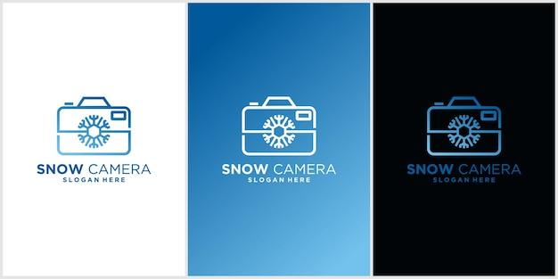 Sneeuwcamera landschapsfotografie logo ontwerp inspiratie