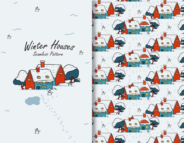 Sneeuwhuis in de winter stock illustratie naadloos patroon voor wenskaart