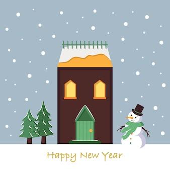 Sneeuwhuis op kerstkaart. winterlandschap met sneeuwvlokken, sneeuwpop en sparren op blauwe achtergrond. gelukkig nieuwjaar wenskaart