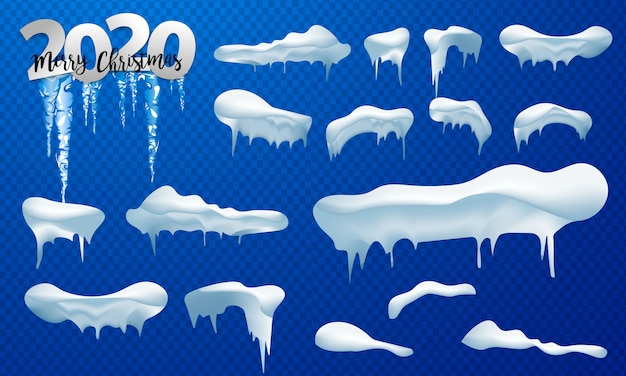 Sneeuwkappen, sneeuwballen en sneeuwbanken. snow cap vector-collectie. winter decoratie