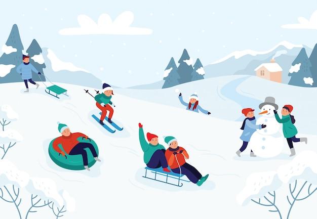 Sneeuwlandschap, vectorillustratie van de winter de sneeuw leuke activiteiten