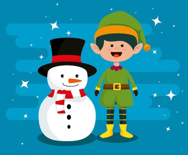 Sneeuwman en elf om vrolijke kerstmis te vieren