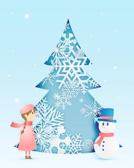Sneeuwman en schattig meisje met sneeuwvlok in papier kunststijl