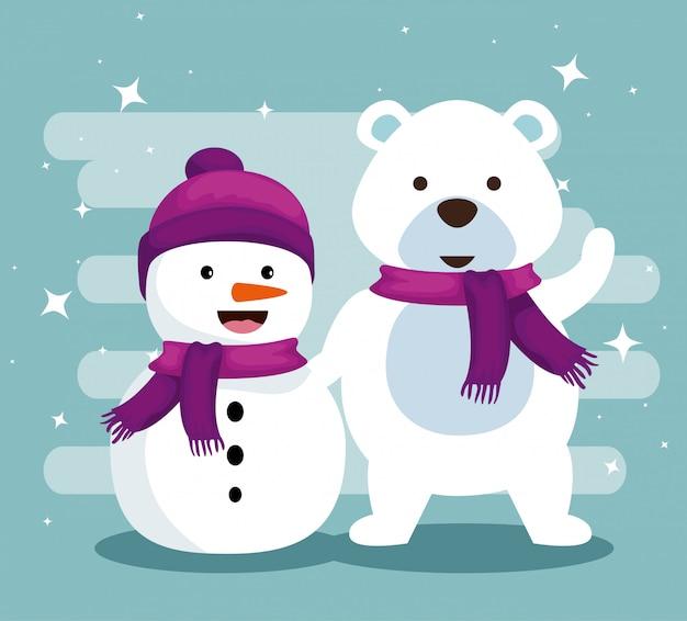 Sneeuwman en sneeuw dragen met sjaal aan kerstmis
