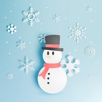 Sneeuwman en sneeuwvlok met de vectorillustratie van de document kunststijl