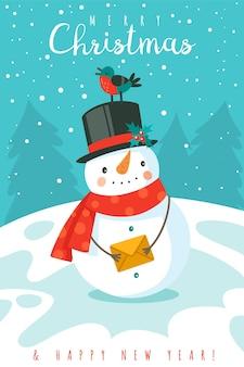 Sneeuwman. gelukkig nieuwjaar en vrolijk kerstfeest wenskaart met vrolijke sneeuwpop in muts en sjaal en sneeuwvlokken, feestelijke winter cartoon xmas schattig karakter vector december vakantie achtergrond